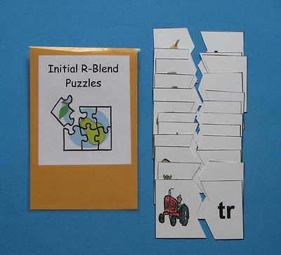 Teacher Made Literacy Center Resource Game Initial R-Blend Puzzles
