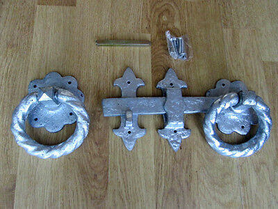 "10"" Heavy Cast Iron Silver Galvanised Twisted Fancy Ring Gate Door Latch Lock"