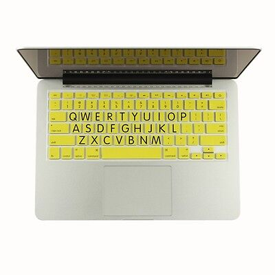 "Extra Bold Large Print Yellow Silicone Keyboard Cover for Macbook 13"" 15"" 17"""