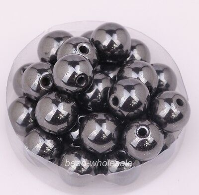 4/8/10/12mm Ball Black Magnetic & Non-Magnetic Hematite Findings Spacer Beads