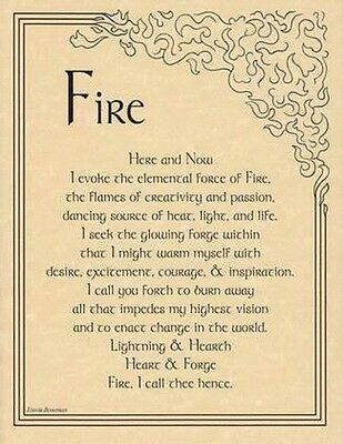 FIRE EVOCATION - POSTER A4 SIZE  Wicca Pagan Witch Goth  BOOK OF SHADOWS