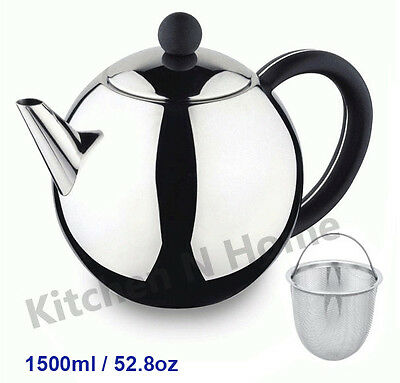 Stainless Steel Teapot with Tea Infuser, 1500ml/52.8oz, High Quality, Large size