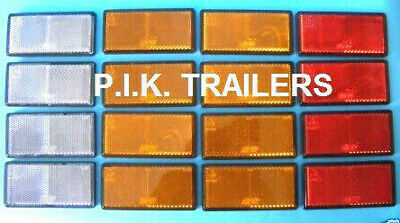 Trailer Reflector Set of 16 Self Adhesive 100mm x 50mm Oblong Red Amber Clear