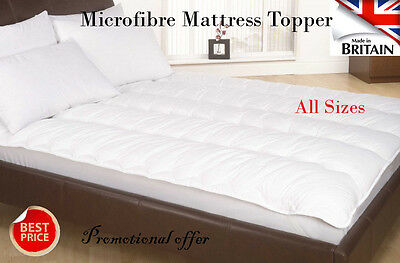 New Microfibre Mattress Topper with Hollow fibre Filling - All Sizes