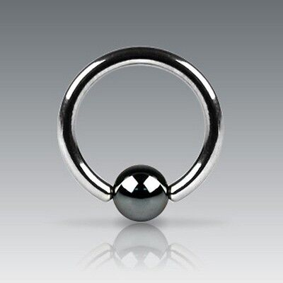 Hematite Plated CBR Captive Bead Ring - Various Sizes Available
