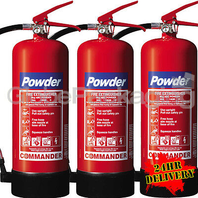 3 x 6KG DRY POWDER ABC FIRE EXTINGUISHERS WAREHOUSE OFFICE INDUSTRIAL