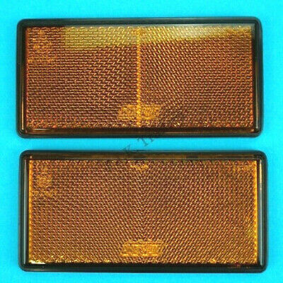 2 x Amber Side Reflectors Self Adhesive Stick on 100mm x 50mm - Trailer Caravan