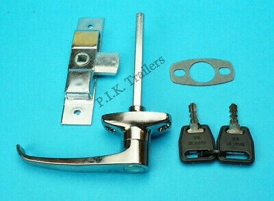 Chrome L Handle & Heavy Duty Door Lock Latch for Trailers Horse Box & Catering