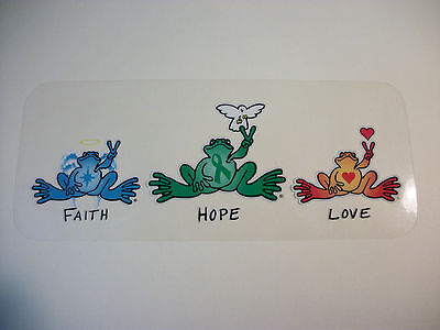 "New Peace Frogs Faith Hope Love Static Cling Sticker  8""x3 1/2"""
