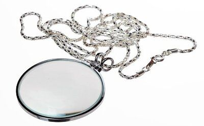 """New 4X 1.75 """" Glass Lens Necklace Magnifier w/ 36"""" Sliver Chain * US SHIPPER *"""