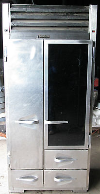 VINTAGE COMMERCIAL TRAULSEN STAINLESS REFRIGERATOR / FREEZER CUSTOM