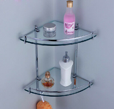 Chrome Glass Wall Corner Shower Caddy Storage Cosmetic Shelf Dual Tier