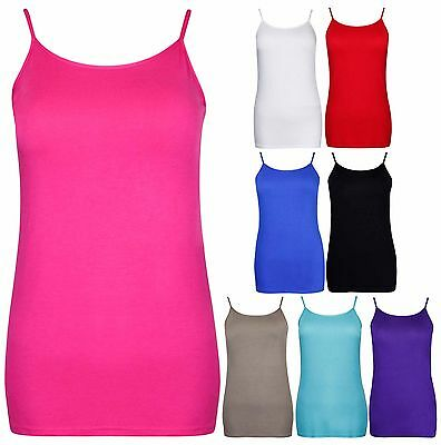 Womens Plain Sleeveless Ladies Stretch Strappy Camisole Vest Tank Top Plus Size