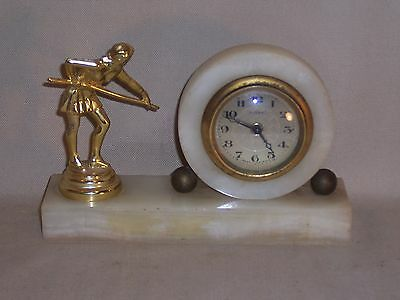 Vintage Mantel Desk Table German Florn Clock Marble stand Lady holding Pool Cue