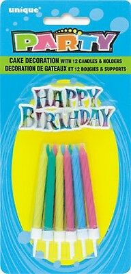 Birthday cake candles with Happy Birthday sign