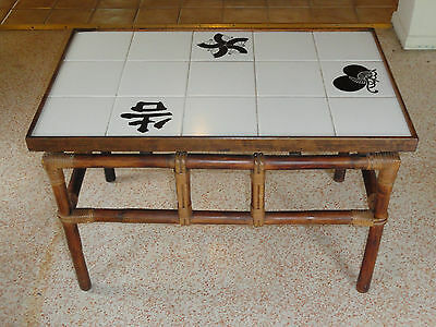 RARE 60's FICKS REED RATTAN LARGE TILED COFFEE TABLE / SIDE TABLE #2