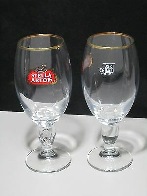 2 Stella Artois Chalice 33CL Glasses Beer Pub Bar stemware Pint glass 11.2oz New