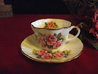 VINTAGE ROYAL MINSTER CUP & SAUCER HP ROSES INSIDE & OUT ENGLAND BONE CHINA EXC!