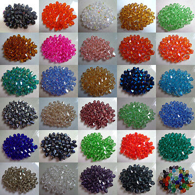 Wholesale, 200pcs-1000pcs 4 mm bicone crystal beads, a lot of color