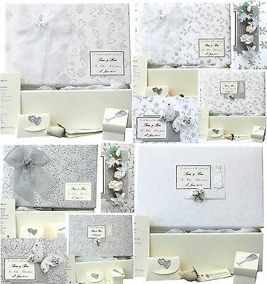 Wedding Keepsake Memory Box 15 Silver/White Designs PERSONALISED 4 Motifs+Extras