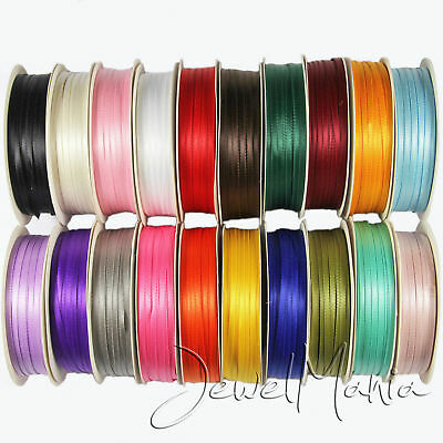 "Full Reel 50 Metres Of 3mm (1/8"") Double Faced Sided Satin Ribbon Roll"
