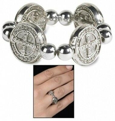 Saint Benedict of Nursia Medal Silver P Ring Evil Protection Religious Jewelry