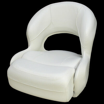 Deluxe White Vinyl Boat Bolster / Bucket / Drivers Seating Seat Chair (Single)