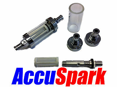Washable Glass and chrome in-line Fuel filter 10 mm 3/8 inch