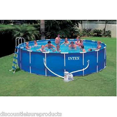 "Intex METAL FRAME Swimming Pool 18ft x 48"" With FILTER PUMP Above Ground Pool"