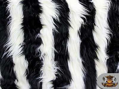 """Faux Fur  Long Pile 2 TONE SHAGGY STRIPE BLACK WHITE Fabric 60"""" Wide Sold BTY"""