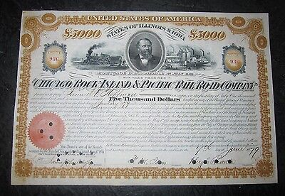 Chicago Rock Island Pacific Railroad $5,000 bond 1879