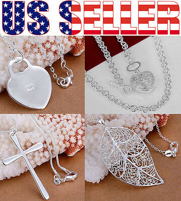 925 STERLING SILVER PLATED SHINY NECKLACE WITH CHARM Beautiful! FREE US SHIPPING