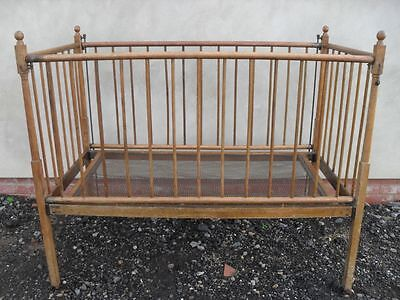 Lovely Victorian fold up Oak and Ash drop sided child's cot/bed