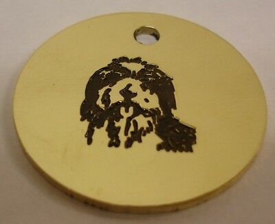 Bearded Collie  Engraved Brass Id Tag. Free Postage!