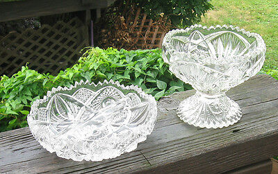 PRESSED GLASS LOT SMALL COMPOTE AND DIVIDED DISH NICE OLD LOT