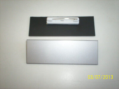 """20 Coated, scratch resistant Silver/black blank name badges tags 1x3"""" with pins"""