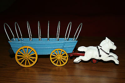 """13"""" VINTAGE CAST IRON HORSE DRAWN CONESTOGA WAGON COMPLETE WITH LINEN COVER"""