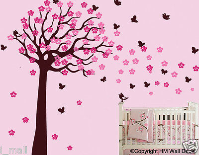 225 CM Height Cot side Tree & Birds,Butterflies,Flowers Removable Wall Decals