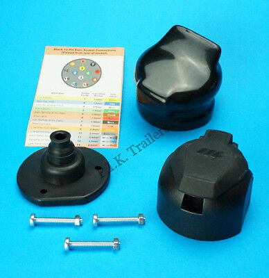 Professional Grade 13 Pin Towing Socket & Rear Gasket Seal & Cover  #TR