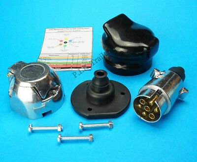 Metal 7 Pin Plug & Socket with Gasket Seal & Cover - Trailer and Horse Box
