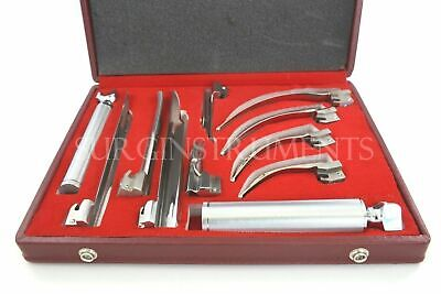 Laryngoscope Mac + Miller Set of 9 Blades & 2 Handles EMT Anesthesia Intubation