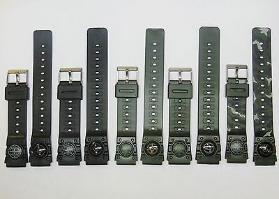 Replacement for Casio Rubber PVC Compass Watch Band Black Green Camouflage 18 20