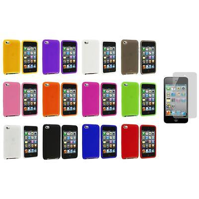 Silicone Soft Case Cover+3X LCD Protector for iPod Touch 4th Generation 4G 4