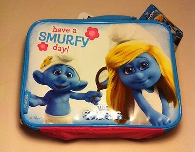 """SMURFS THERMOS INSULATED LUNCHBOX KIT 9.5"""" X 7"""" NEW WITH TAGS"""