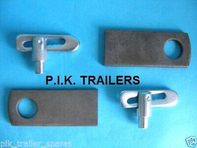 2 x Weld on 8mm Baby Antiluce Trailer Drop Catch Fastener & PLATE