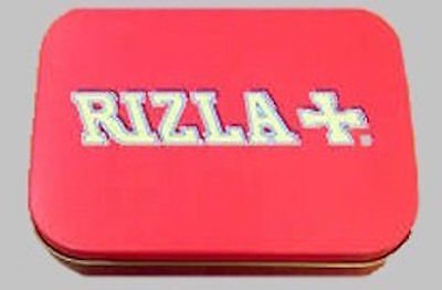 new slim 1oz hinged red rizla tobacco tin with  rolling papers