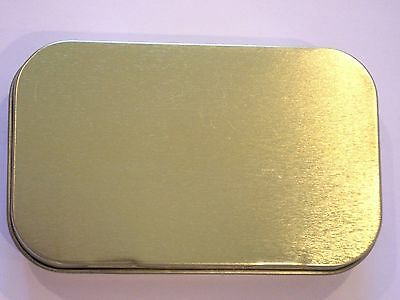 New Slim 1oz Hinged Plain Gold Tobacco Tin With  Rolling Papers