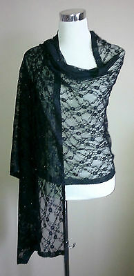 Black Lace Shawl Large Wrap/Stole/Bolero/Pashmina/Tippet Wedding/Bridal Floral