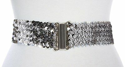 Silver Sequin Elastic Cinch Belt - 50s Costume Dance by Hey Viv - Closeout Sale