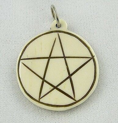 BONE PENTAGRAM PENDANT CHARM Wicca Witch Pagan Spell Goth New Age PENTACLE